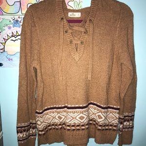 Tan Hollister Hooded Sweater